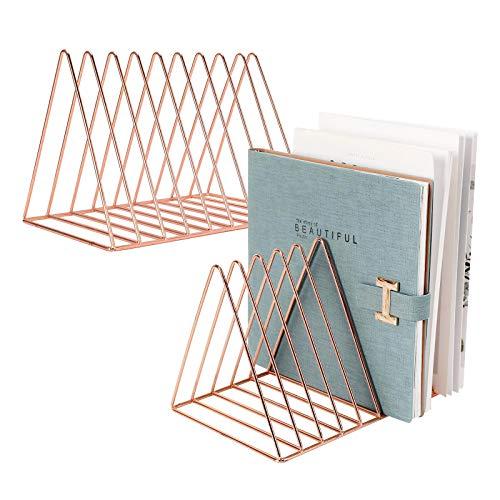 PENNGKE 2 Pcs Magazine HolderNewspapers HolderLetters StorageDesktop File Sorter Organizer Triangle Bookshelf Decor Home OfficeRose Gold