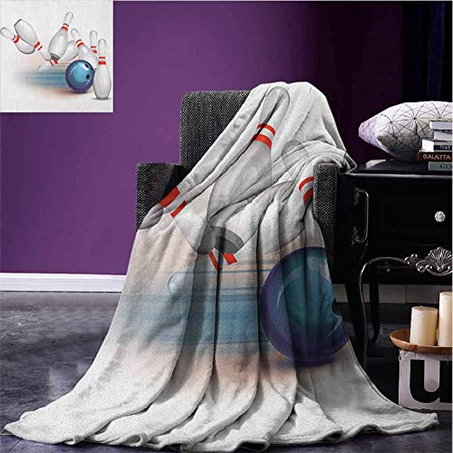 JKTOWN Bowling Party Ultra Soft Blanket Popular Fashion 60x80 inch Thrown Ball and Scattered Pins Speed Hit The Target Shot Score White Pale Blue Red