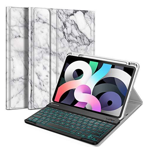 Fintie Funda con teclado retroiluminado para iPad Air 4 10,9 pulgadas 2020 - Carcasa de TPU suave con soporte para bolígrafo, teclado QWERTZ extraíble con retroiluminación, mármol blanco
