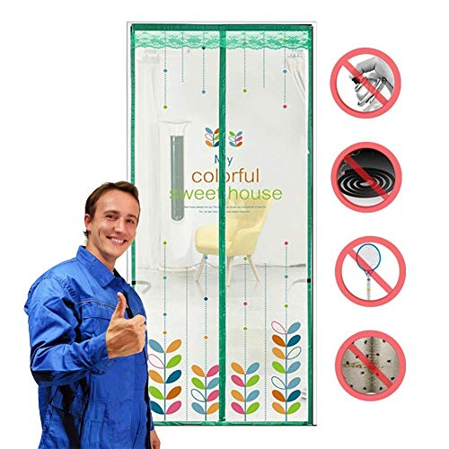 ROYWY Magnetic Fly Screen Door,Anti-Mosquito Curtain,Super Quiet Stripes Encryption,Keep Bug Out Let Fresh Air in for Balcony Sliding Living Room Children's Room/A / 90 * 215CM