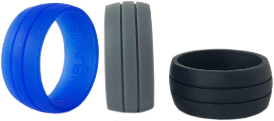 Men Silicone Wedding Band for Sports Gym Outdoors WENSUNNIE Silicone Rubber Wedding Bands//Rings for Mens