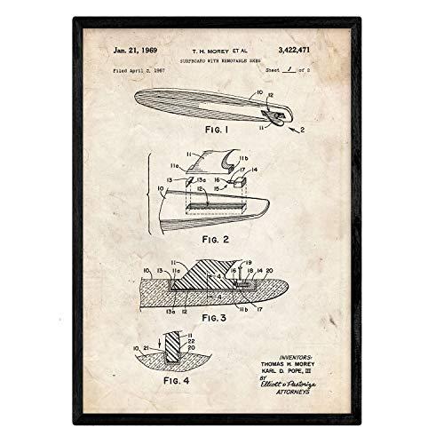 Nacnic Poster Surf patentierte Kiel. Blatt mit altem Design-Patent in der Größe A3 und Vintage-Hintergrund