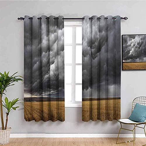 ZLYYH Cortinas Para Cocina Negro nubes oscuras tormenta campo de trigo 168x138cm Cortinas extra largas Tratamientos de ventana para paneles y cortinas de sala de estar, cortinas extra largas de ojal c