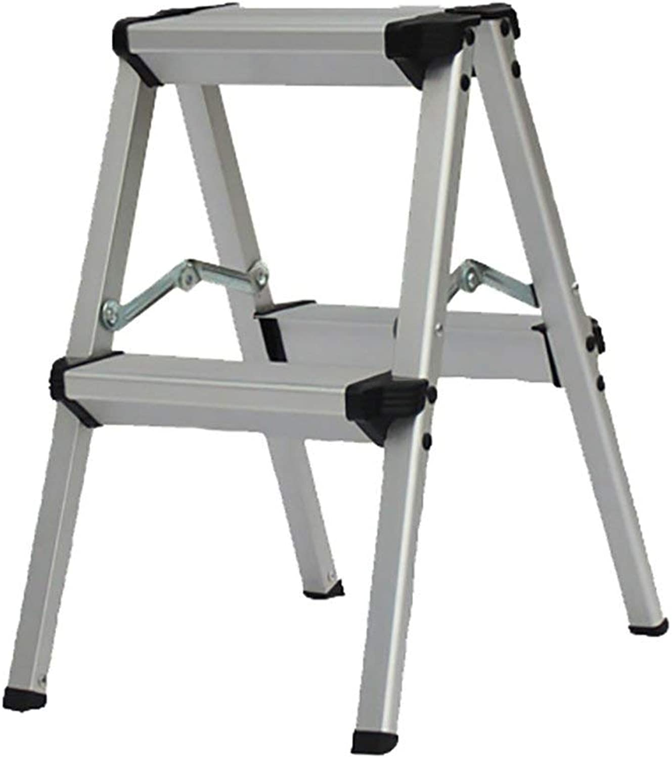 SEBAS HOME Home folding two-step ladder aluminum alloy extension ladder multi-purpose engineering ladder stool. - step stool (color   Black, Size   2-step)