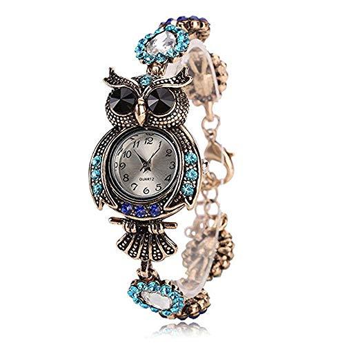 Yoodeet Weinlese-Quarz-Uhren-Luxuxmarken-Eulen-Art- und Weisefrauen-Armband-Uhr