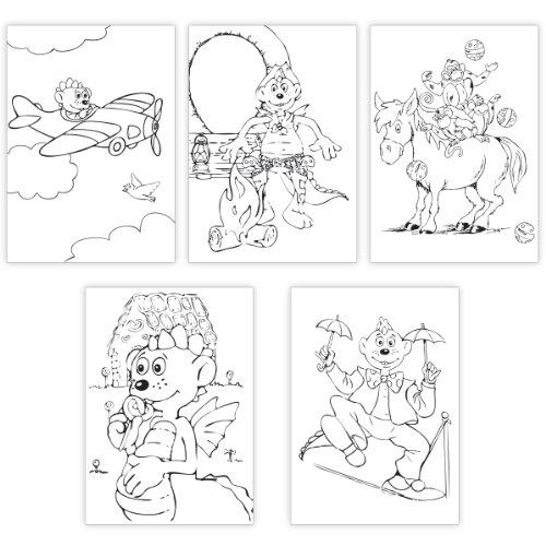 Kartenkaufrausch Mix van uitschilder/knutsel-vouwkaarten met de draken dinolino als vlieger, cowboy, circus artiest. • Elegante vouwkaart met envelop binnen blanco