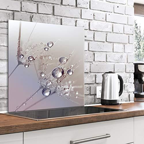 murando Spritzschutz Glas für Küche 60x60 cm Küchenrückwand Küchenspritzschutz Fliesenschutz Glasbild Dekoglas Küchenspiegel Glasrückwand Blumen Pusteblume - b-B-0432-aq-a