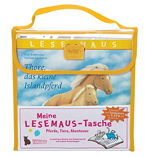 Meine Lesemaus-Tasche – Pferde, Tiere, Abenteuer: Kindertasche mit 4 Lesemaus-Büchern und Stickerbogen