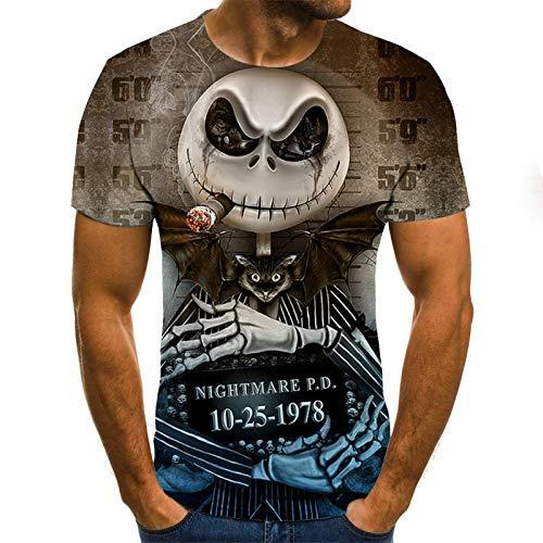 T Shirt Men Clothes Mens Summer Skull Print Men Short Sleeve T-Shirt 3D Print T Shirt Casual Breathable Funny T Shirts XL Txu-1373