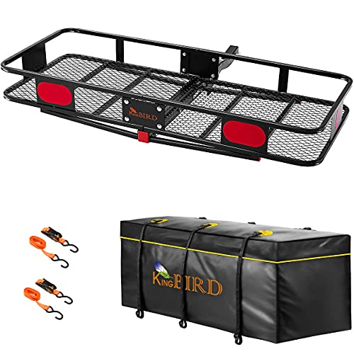 """KING BIRD Upgraded 60"""" x 24"""" x 6"""" Hitch Mount Folding Cargo Carrier Fits to 2'' Receiver,500LBS Capacity Cargo Basket with Waterproof Cargo Bag and Packing Straps"""