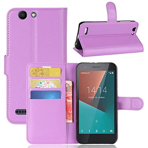 Tasche für Vodafone Smart E8 Hülle , Ycloud PU Kunstleder Ledertasche Flip Cover Wallet Hülle Handyhülle mit Stand Function Credit Card Slots Bookstyle Purse Design lila