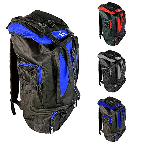 Mojawo XXL 65 Liter Trekkingrucksack Camping Rucksack Wanderrucksack Reiserucksack für Damen und Herren, Farben:Hellblau