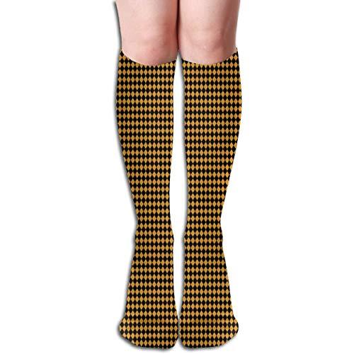 Generic Harlekin-Diamanten ~ schwarz und Zarin (Gold) ~ Puppe Skala Frauen Rohr Knie Oberschenkel hohe Strümpfe Cosplay Socken 50cm (19,6 Zoll)