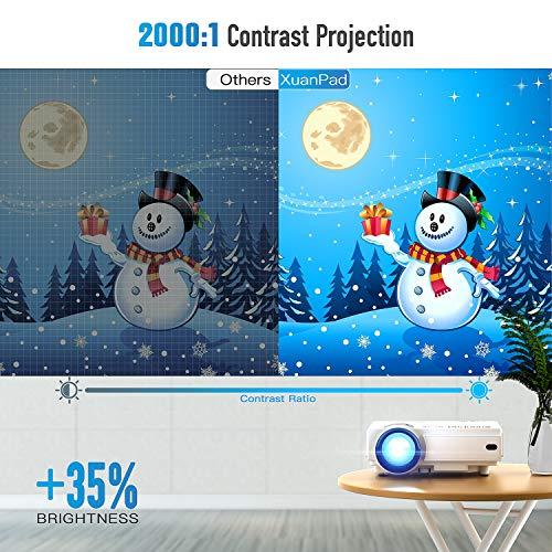 XuanPad Mini Proyector 2400 Lúmenes Multimedia Vídeo Proyector LCD, 55000 Horas Proyector de Cine en casa con Sistema de Cine en casa, Compatible con Amazon Fire TV Stick 1080P HDMI VGA USB