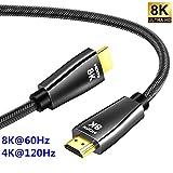 CABLEDECONN Câble HDMI 8K UHD HDR 8K (7680x4320) Haute Vitesse 48Gbps 8K@60Hz 4K@120Hz HDCP2.2 HDR eARC 3D Câble HDMI pour PS4...