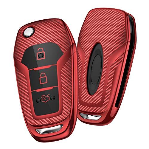 OATSBASF Autoschlüssel Hülle Geeignet für Ford,Mondeo,Fiesta, Focus,Galaxy, Mustang,Kuga,Fusion Titanium 3 -Tasten Schlüsselhülle Cover Case TPU Schlüsselbox (Rot-Streifen)