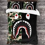NA-1 Ba-pe Camo Shark Face Black and Green Duvet Cover Bedding Sheet Set, 3 Piece Set Soft Luxury(Duvet Cover + 2 Pillowcases)
