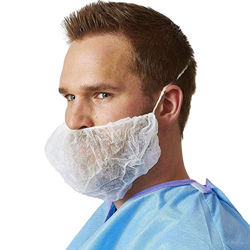 AMAZING Polypropylene Beard Covers 18'. Pack of 100 White Disposable Beard Guards. Beard Net Protectors. Honeycomb Beard Nets. Facial Hair Covering for Food Service, Industrial Needs.