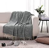 """PHF Knit Throw Blanket for Travel Picnic Beach Soft Chunky Cozy Fringed Warm Acrylic Texture Decorative, 50"""" x 60"""" Dark Green and Cream"""