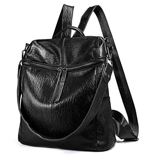 Fashion Backpack, JOSEKO Women Purse Soft PU Leather Ladies Rucksack Shoulder Bag Handbag Black