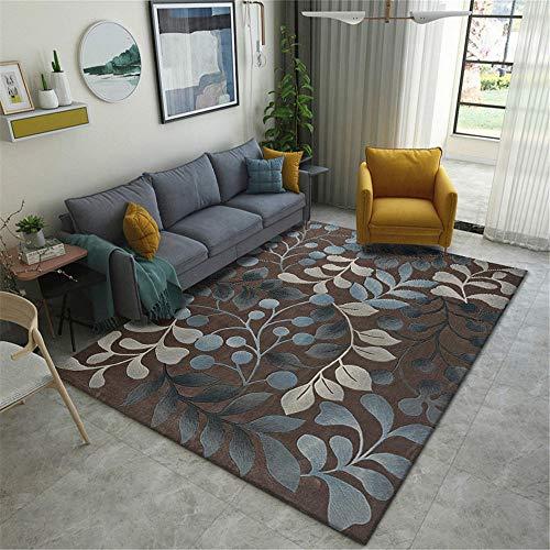 La alfombras decoración del hogar Alfombra Duradera con patrón de Hojas Crema marrón Azul Suave Rugs for Living Room alfombras de habitacion Juvenil 120*170CM
