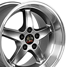 OE Wheels 17 Inch Fit Ford Mustang Cobra R Deep Dish Style Gunmetal Mach'd Lip 17x10.5/17x9 Staggered Rims SET