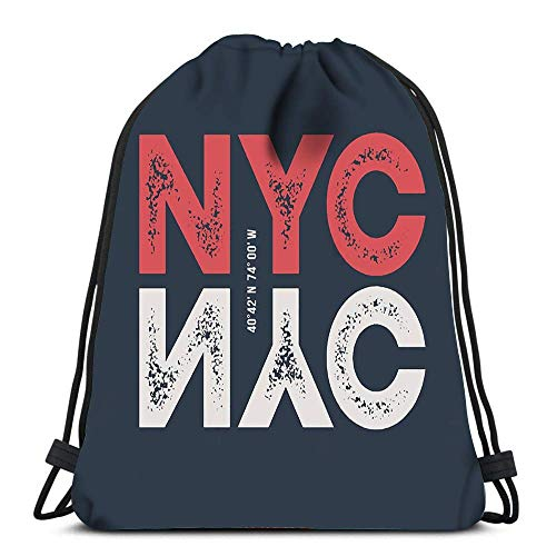 wallxxj Drawstring Backpack Nyc Laundry Bag Gym Yoga Bag Travel Drawstring Bags Casual Drawstring Backpack Cinch Bags Daypack