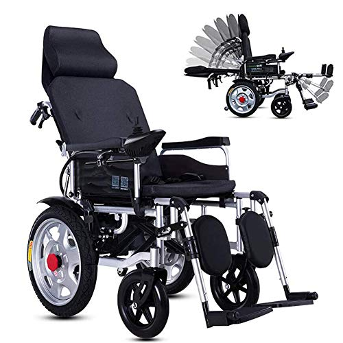 Lichtgewicht opvouwbare elektrische rolstoelen, met Verstelbare rugleuning draagbare reizen Rolstoel voor gehandicapten en ouderen,Black
