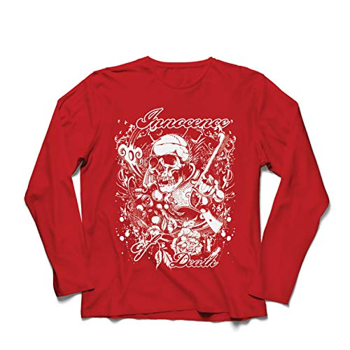lepni.me Camiseta de Manga Larga para Hombre Inocencia de la Muerte - Calavera Arte, gráfico de Heavy Metal (XX-Large Rojo