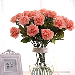 Ten piece Pink Rose Artificial Flower Real Touch Artificial Bouquet Flowers