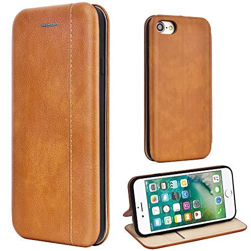 Leaum Leder Handyhülle für iPhone 7 Hülle, iPhone 8 Hülle, Premium Handytasche Flip Schutzhülle für Apple iPhone 7/8 Tasche (Braun)