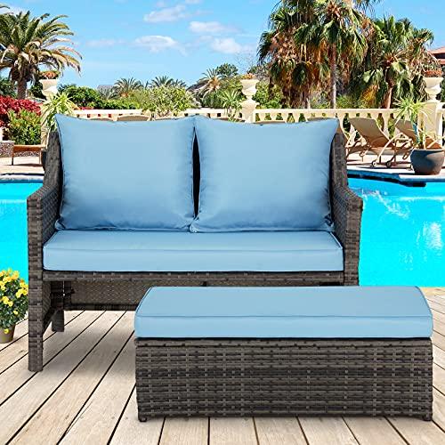 AVAWING 2 Piece Wicker Patio Furniture, Outdoor Loveseat w/Footrest & Cushions, Rattan Conversation Set w/Storage Bin for Balcony, Deck, Garden, Blue