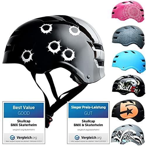 Skullcap® Skaterhelm Erwachsene Schwarz Bullets - Fahrradhelm Herren ab 18 Jahre Größe 55-58 cm - Scoot and Ride Helmet Adult Black - Skater Helm für BMX Inliner Fahrrad Skateboard