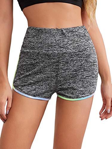 Floerns Women's Elastic Waist Ruched Workout Running Yoga Dolphin Shorts Grey M