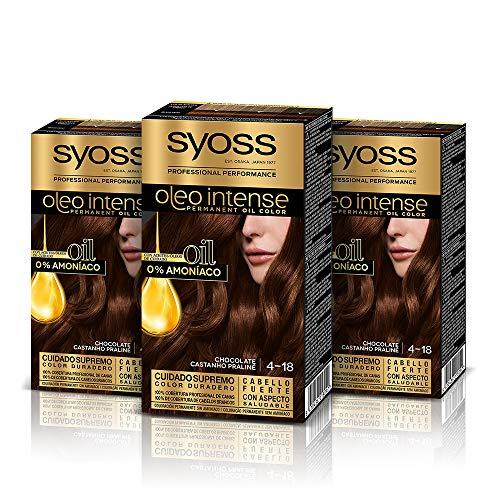 Syoss Oleo Intense - Tinte 4-18 Chocolate – Coloración permanente Sin Amoníaco – Cobertura profesional de canas – Resultados de peluquería (Pack De 3)