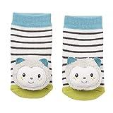 Fehn 057249 - Calcetines con sonajero, diseño de gato, multicolor