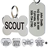 GoTags Stainless Steel Pet ID Tags, Personalized Dog Tags and Cat Tags, up to 8 Lines of Custom Text Engraved on Both Sides, in Bone, Round, Heart, Bow Tie, Flower, Star and More (Rectangle, Regular)