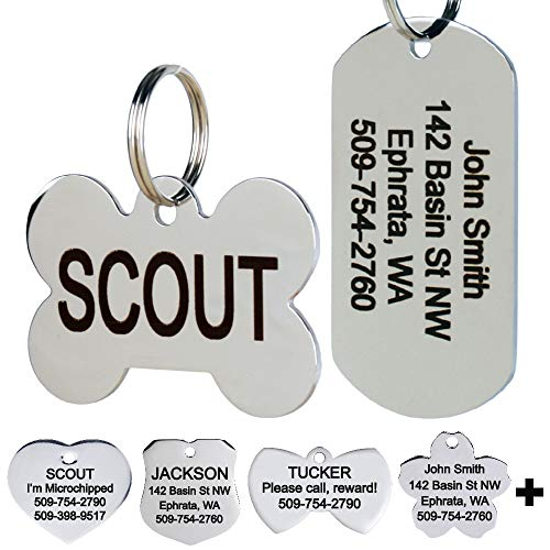 GoTags Stainless Steel Pet ID Tags, Personalized Dog Tags and Cat Tags, up to 8 Lines of Custom Text Engraved on Both Sides, in Bone, Round, Heart, Bow Tie, Flower, Star and More (Rectangle, Small)
