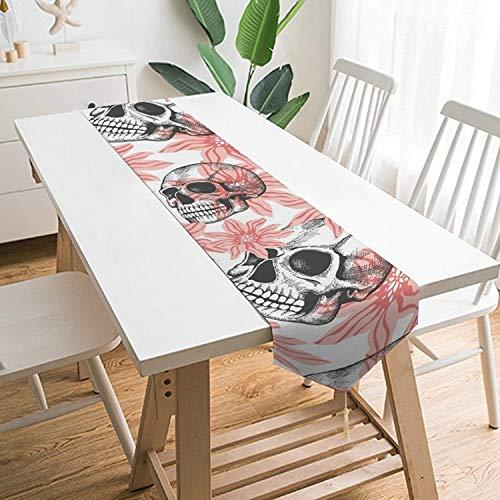 Camino de mesa con diseño de calavera y flores rosas, corredores de mesa de felpa cortos hechos a mano para cenas, fiestas en interiores y exteriores, Acción de Gracias, Halloween, Navidad y reuniones
