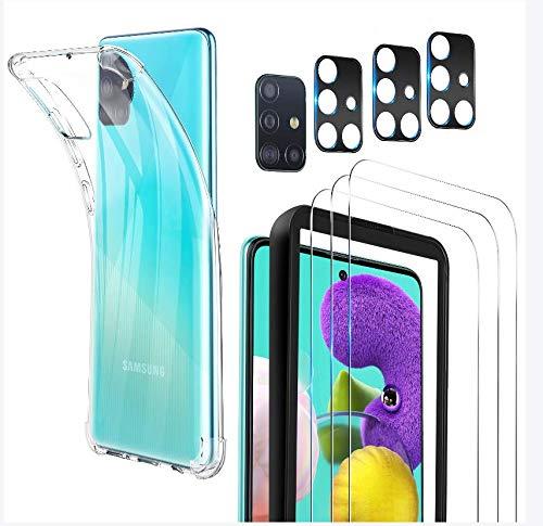 Luibor [7 in 1] Vetro Temperato per Samsung Galaxy A51 Pellicola Protettiva + Cover Samsung Galaxy A51 + Pellicola Fotocamera,[9H] [Strumento di Installazione Facile] [HD Chiaro][Protezione Completa]