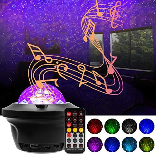 LED Sternenhimmel Projektor Licht - 360?? Rotierender Ozeanwellen Galaxy Projector mit Bluetooth-Lautsprecher, Tonsensor und Zeitmesser, Geeignet f??¨¬1r Schlafzimmerpartys
