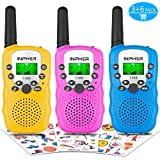 Inpher 3 Pack Walkie Talkies with Kids Temporary Tattoos, VOX Voice Activated FRS 22 Channels 2 Way Radio Toy with Backlit LCD Flashlight, 3 Miles Range for Kids, Outdoor Adventures, Camping, Hiking