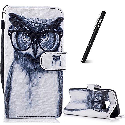 Slynmax Leder Schutzhülle Kompatibel mit Samsung Galaxy S7 Tasche Flip Case Schutzhülle mit von Handyhüllen Ledertasche Wallet Brieftasche Tasche Stand für Samsung Galaxy S7,Brille Eule