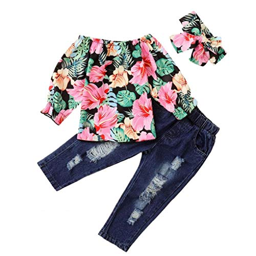 Odoukey Baby-Kleidung Mode Mantel gekräuselte Karierten Top-Blue Jeans Kleinkind Mädchen Kleidung 3pcs 110CM