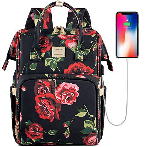 Laptop Backpack,15.6 Inch Stylish College School Backpack with USB Port Charging, Water Resistant Casual Daypack Laptop Backpack for Women/Girls/Business/Travel (Flower3)