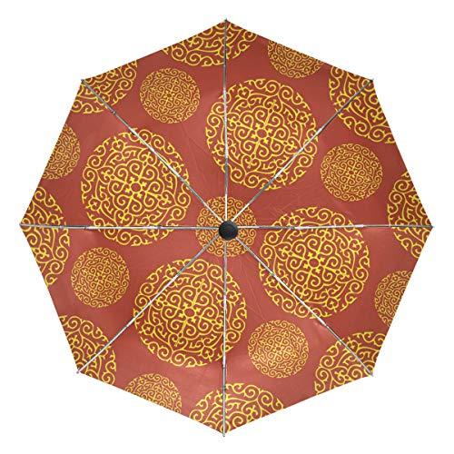FANTAZIO Fantasio Reise-Regenschirm, Rot/Gold-Tapete, für Wände, automatisches Öffnen, leicht