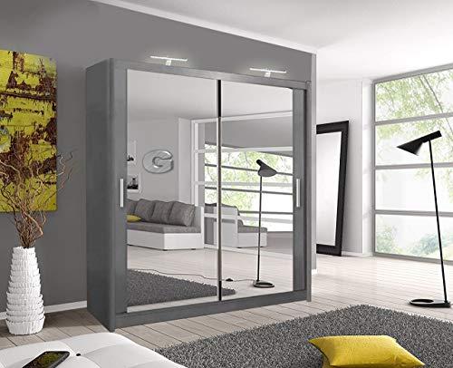 A.C. Milan Modern Double Mirror sliding door wardrobe with LED Light Width 100cm/120cm/150cm/180cm/203cm/250cm (203, Grey)