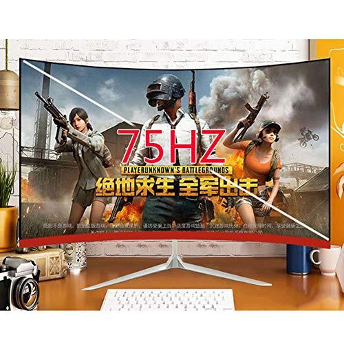 Rode tij gebogen computer scherm Monitor/randloze gebogen monitor, 24-inch 75HZ, High-Definition Gaming LCD Computer Screen voor Gaming, Kantoor, Thuis, Student