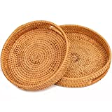 Rattan Round Serving Tray with Handles Large Hand Woven Wicker Basket Tray for Food,Dinner,Breakfast,Coffee Table (Set of 2)