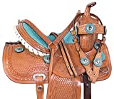 "Acerugs 10"" 12"" 13"" 14"" Children Western Youth Kids Pony Horse Saddle TACK Cowhide Leather Barrel Racing Show Trail Package (Turquoise, 14)"